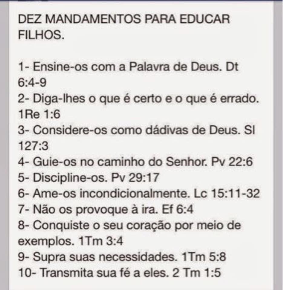 dez mandamentos para educar os filhos